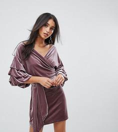 Бархатное платье мини с присборенными рукавами Lioness - Фиолетовый