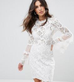 Кружевное платье с рукавами клеш Lioness - Белый