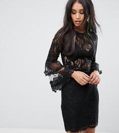 Кружевное платье с рукавами клеш Lioness - Черный