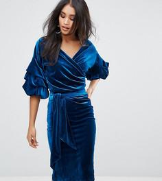 Бархатное платье миди с присборенными рукавами Lioness - Синий