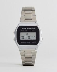 Серебристые наручные цифровые часы Casio A158WEA-1EF - Серебряный