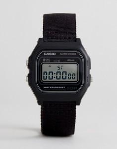 Часы с черным парусиновым ремешком Casio W-59B 1AVEF - Черный