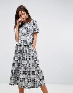 Платье миди с оборками YMC - Серый
