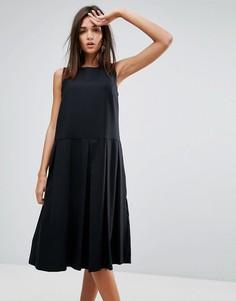 Платье с добавлением шерсти и плиссировкой YMC - Черный