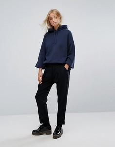 Широкие брюки с добавлением шерсти и складками YMC - Черный