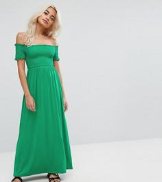 Легкое платье макси с присборенной вставкой ASOS PETITE - Зеленый