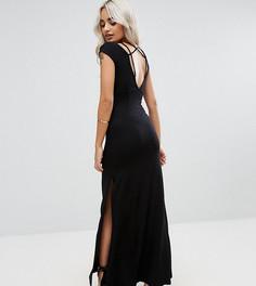 Платье макси с высоким разрезом и бретельками ASOS PETITE - Черный