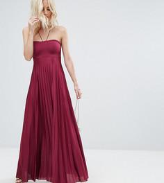 Плиссированное платье макси ASOS PETITE - Фиолетовый