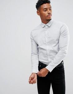 Строгая рубашка скинни с мелким принтом ASOS - Белый