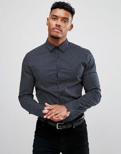 Эластичная строгая рубашка узкого кроя с пестрым принтом ASOS - Темно-синий