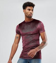 Бордовая длинная обтягивающая футболка из велюра в рубчик ASOS TALL - Красный