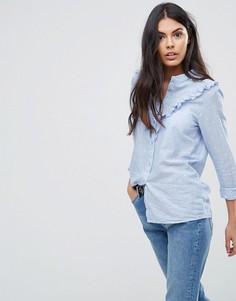 Рубашка с оборкой JDY Futura - Синий
