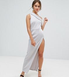 Платье макси на одно плечо с молнией ASOS PETITE - Серый