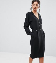 Платье с длинными рукавами и отделкой Y.A.S Tall - Черный