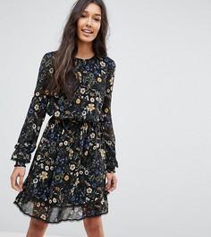 Ярусное платье с цветочным принтом Y.A.S Tall - Черный