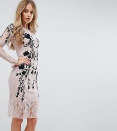 Платье с длинными рукавами и декоративной отделкой Hope & Ivy - Розовый