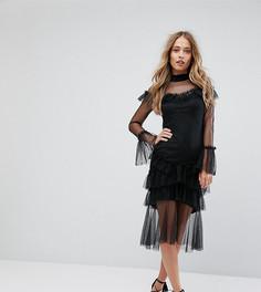 Платье миди с сетчатой отделкой и оборками Hope & Ivy - Черный