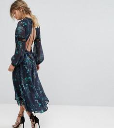 Платье миди с принтом, открытой спиной и кружевными вставками Hope & Ivy - Мульти