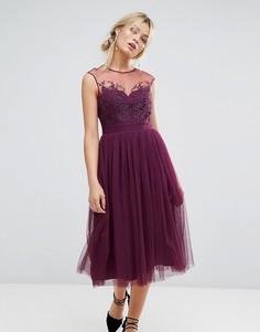 Платье миди с кружевной отделкой Little Mistress - Фиолетовый