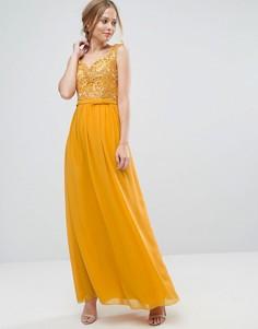Платье макси с кружевным лифом Little Mistress - Желтый