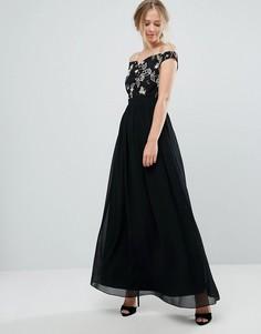 Платье макси с открытыми плечами и цветочной вышивкой Little Mistress - Черный