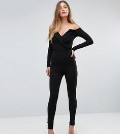 Комбинезон в стиле смокинга со спущенными плечами Missguided Tall - Черный