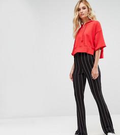 Расклешенные брюки в тонкую полоску Missguided Tall - Черный