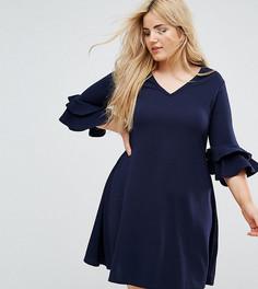 Платье с V-образным вырезом и рукавами клеш Praslin - Темно-синий