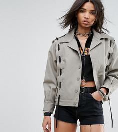 Куртка в стиле милитари со шнуровкой Milk It Vintage - Светло-серый