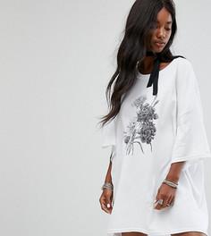 Платье-футболка в стиле оверсайз с чокером-завязкой Milk It Vintage - Белый