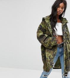Пальто милитари с потайным капюшоном Milk It Hood - Зеленый