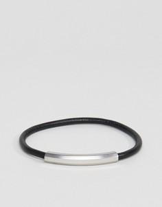 Черный браслет с серебристой отделкой Emporio Armani - Черный