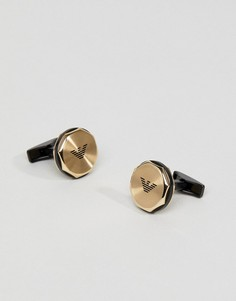 Золотистые запонки с логотипом Emporio Armani - Золотой