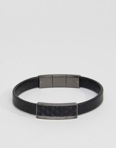 Черный кожаный браслет Emporio Armani - Черный