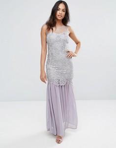 Серое платье макси из кроше Ax Paris - Серый