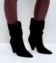 Замшевые ботинки для широкой стопы с конусообразным каблуком ASOS CIANNA - Черный