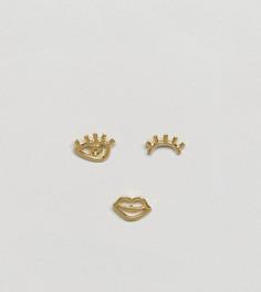Набор позолоченных серебряных непарных серег-гвоздиков ASOS - Золотой