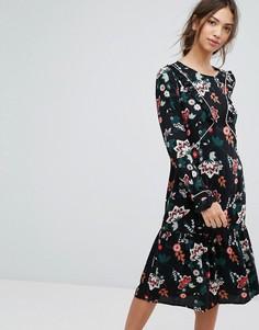Платье миди с принтом Vila - Черный