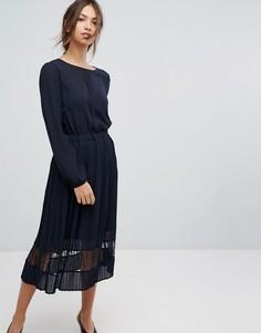 Плиссированное платье миди Vila - Темно-синий