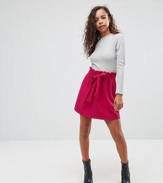 Фактурная расклешенная мини-юбка с поясом ASOS PETITE - Фиолетовый