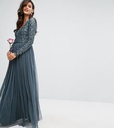 Платье макси с глубоким вырезом, длинными рукавами, пайетками и юбкой из тюля Maya - Синий