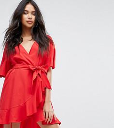 Платье с запахом и оборками Boohoo - Красный