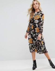 Платье миди с высоким воротом и цветочным принтом Boohoo - Черный