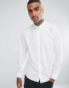 Белая однотонная оксфордская рубашка с длинными рукавами Pretty Green - Белый
