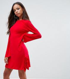 Трикотажное платье-джемпер с оборкой сбоку Boohoo Petite - Красный