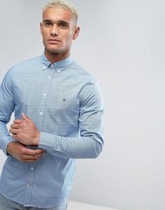 Синяя рубашка узкого кроя в ромбик с воротником на пуговицах Tommy Hilfiger - Синий