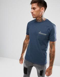 Синяя меланжевая футболка классического кроя с карманом Original Penguin - Синий