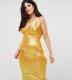 Облегающее платье миди на бретелях Club L Plus - Желтый