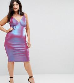 Облегающее платье миди на бретелях Club L Plus - Розовый