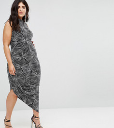 Платье с блестками и высоким воротом Club L Plus - Черный